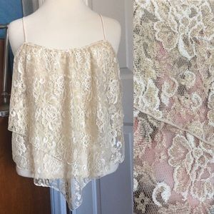 Gold Lace Tiered Tank Top